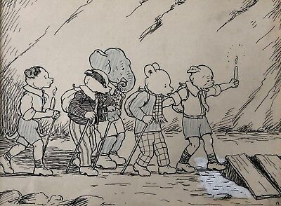 RUPERT BEAR ORIGINAL ARTWORK by Mary Tourtel 1932 RUPERT GOES HIKING UNIQUE