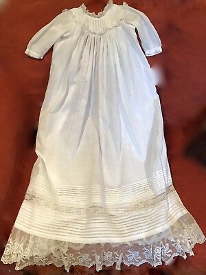 Vintage Lace Cotton Christening Gown Or Baby Doll Dress 36 In. Long