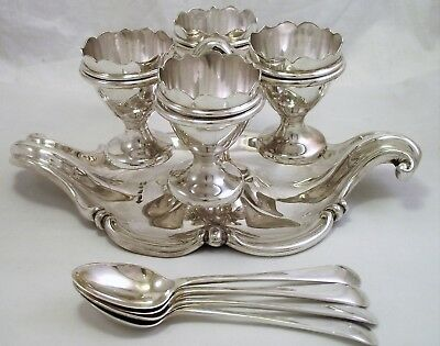Victorian Ornate Silver Plated Egg Cruet / Four Egg Cup Stand Elkington 1859