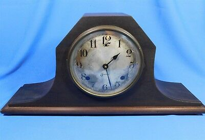 "Antique Sessions Wood with Inlay Chiming Mantle Clock 21"" - RUNS"