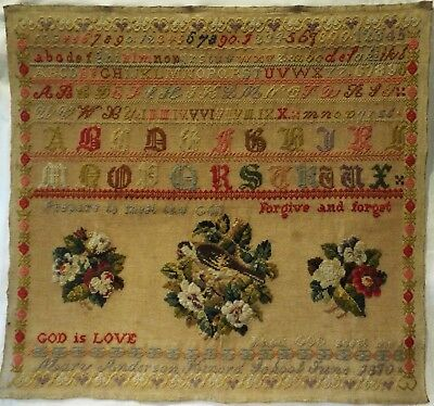 Mid/late 19Th Century Scottish Bird & Floral Motif Sampler By Mary Anderson 1870