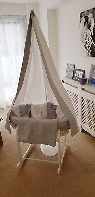 Clair de Lune White Moses Basket crib with rocking stand and canopy drape