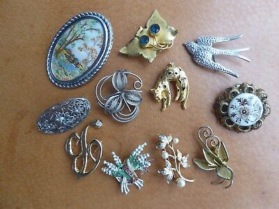11 Vintage Brooches Exquisite Lucky Heather Swallow Floral Enamel Tapestry