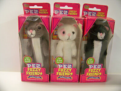 "Lot Of 3 Nos Pez Furry Friends ""cat"" ""kitten Candy Dispensers Oscar Boo Snowball"