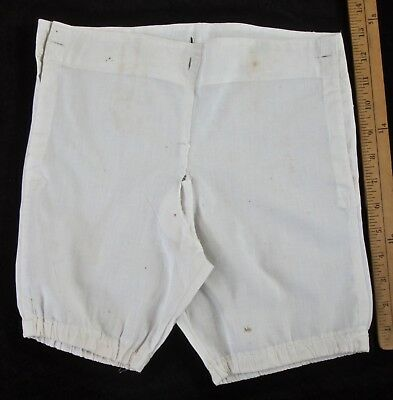 antique Edwardian child's underwear: boys undershorts w fly front wh linen, sz 3