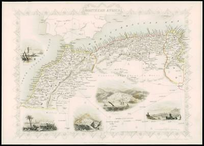 """1850 """"NORTHERN AFRICA"""" Antique Map by Tallis with Vignettes CARAVAN ROUTE (4d)"""