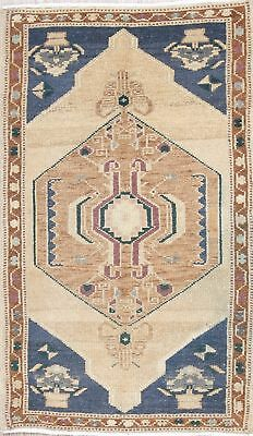 One-of-a-Kind Geometric Tribal Muted Oushak Turkish Hand-Knotted 2'x3' Wool Rug