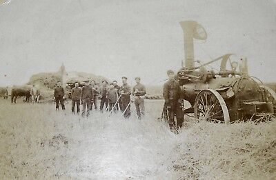 """Antique Photograph Thrashing Machine And Hay Crew Cabinet Card 8"""" X 10"""" Mounted"""