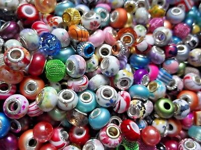 JOB LOT 100 IMPERFECT Mixed ACRYLIC European Spacer BEADS