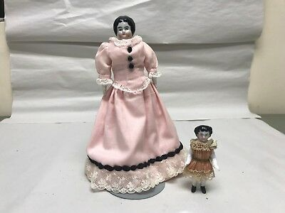 "Lot Of 2 German China Head Dolls 8"" & 2"" Miniature Bisque Antique Black Hair"
