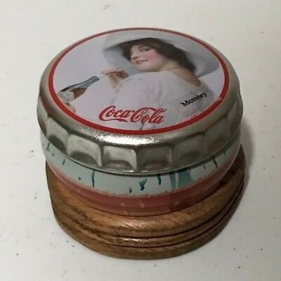 Unique Coca Cola Vtg Tin Round Music Box Wood Base MEMORY 2000 Wichita Kansas
