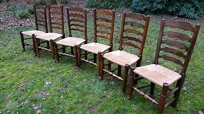 Set of Six Dark Oak Antique Ladderback Lancashire Dining Chairs