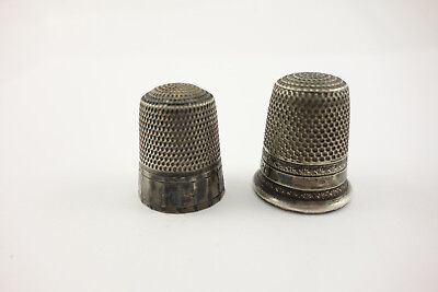 Lot of 2 Antique Sterling Silver Sewing Thimbles Sizes 9 & 10