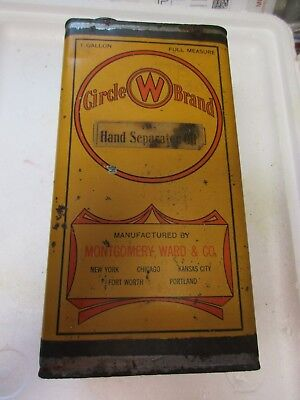 One Gallon Circle W Brand Hand Separator Oil Can, Mfg By Montgomery Ward & Co