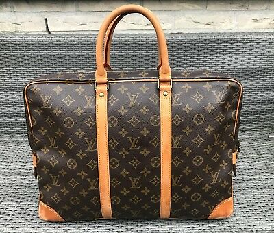 367837a1c6b3b Louis Vuitton Hand Bag Porte Documents Laptop tasche Vintage LV Monogram  Canvas
