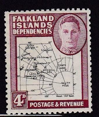 Falkland Is Dependencies 1946 Maps 4d SOUTH POKE error hinged mint. Cat £300