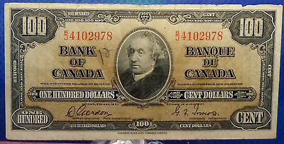 CANADA 100 dollars 1937 Gordon-Towers Prefix B/J #151