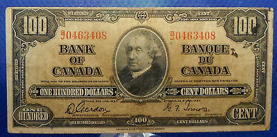 CANADA 100 dollars 1937 Gordon-Towers Prefix B/J  #153