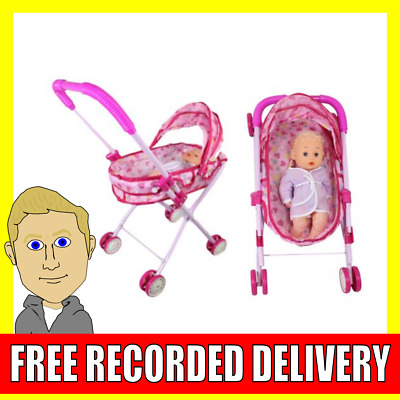 Childrens Play Doll and Pushchair Pram Kids Toy Pink