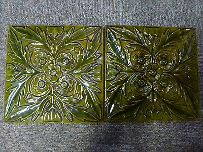 Antique Victorian pottery ceramic pottery glaze floral relief molded tile 2 Pair