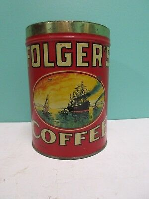 Vintage Folgers Coffee Can Golden Gate Key Wind 2 lb Pound Tin Folger's Ships