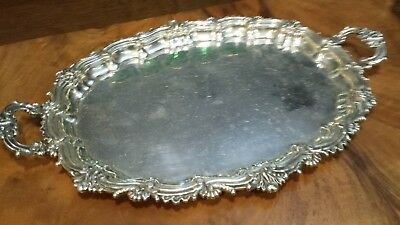 520g COLLECTION STERLING SILVER OVAL HANDLE TRAY ROLEO CARVING STYLE: ESPUÑES HM