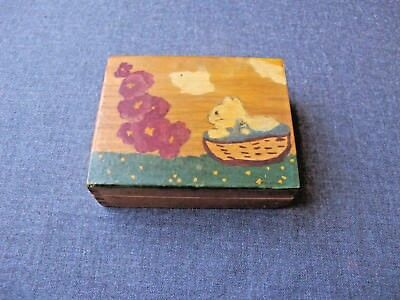 Vintage Hand Painted Cat Kitten In A Basket Purple Flowers Wooden Small Box