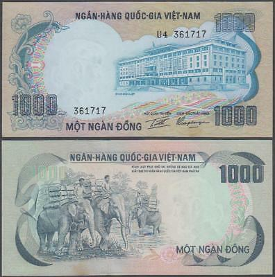 Viet Nam 1000 Dong Nd 1972 P 34a Series F 3 Uncirculated Banknote Sd0717w Coins & Paper Money