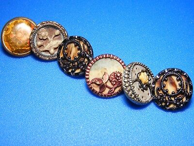 Antique Lot of 6 Beautiful Small Celluloid Cutie Buttons
