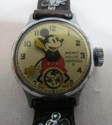 MICKEY MOUSE VINTAGE WRIST WATCH by INGERSOLL 1930's ORIGINAL NOT WORKING AS-IS