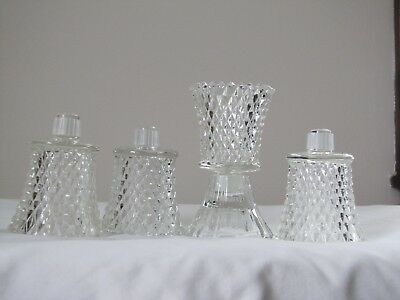 "Set 4 Home Interior Homco Diamond Cut Glass Votive Cups w/Grommets. 3"" T"