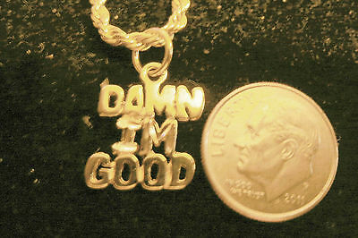 bling gold plated saying damn i`m good pendant charm hip hop necklace jewelry gp