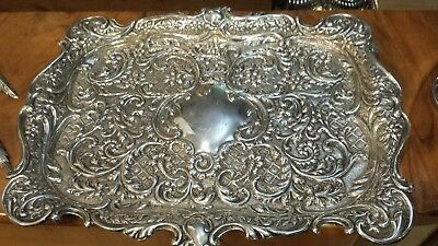 1410g STERLING SILVER HERALDIC TRAY CENTER HEAVY CARVING FRENCH STYLE