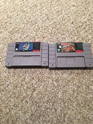 SNES Super Nintendo Games Super Mario World + Donkey Kong Country