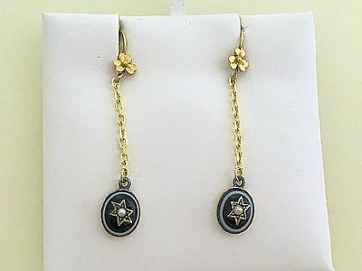 Antique Victorian 14K Yellow Gold & Silver Banded Agate Pearl Star Earrings