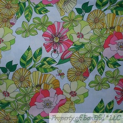 BonEful Fabric FQ Cotton Quilt White Yellow Green Flower Bumble Bee Stripe Large