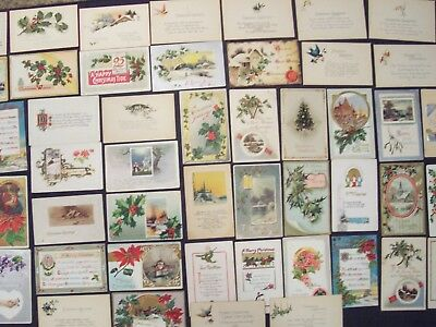 lot of 50 vintage antique early 1900's Christmas postcards / post cards