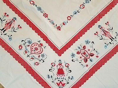 Vtg 1950's VALENTINE'S DAY TABLECLOTH Pink Red Hearts Flowers Folk Art POLKA DOT