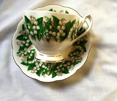 Vintage Queen Anne Lily of the Valley English Bone China Teacup Saucer Gold Trim