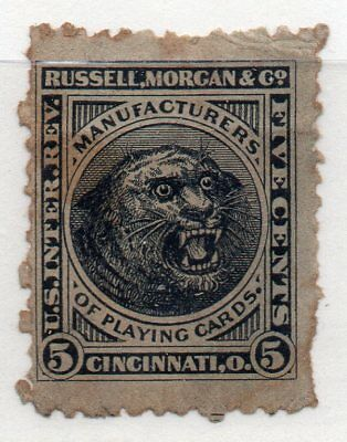 SCOTT RU16d  5 CENT RUSSEL, MORGAN AND CO. PLAYING CARDS  PRIVATE DIE STAMP