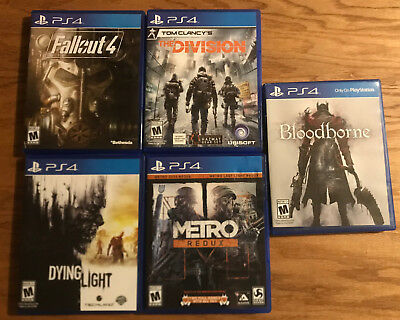 PS4 Game Lot 5 (Metro Redux, Fallout 4, The Division, Bloodborne & Dying Light)