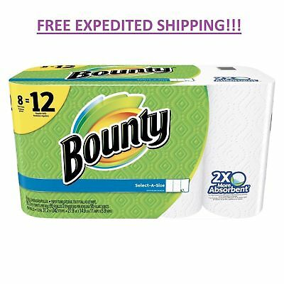 Bounty Paper Towels Roll Select A Size White 8 Pack Absorbent *FAST SHIPPING!*