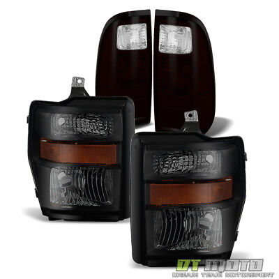 For 2008-2010 Ford F250 F350 F450 F550 Super Duty Blk Smoke Headlamps+Tail Lamps