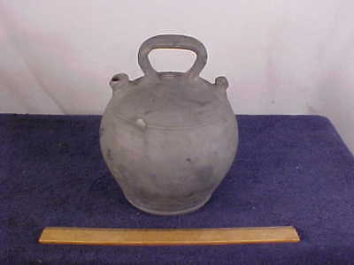 Medium Size  Unglazed  Dark Gray Monkey Pottery Jug