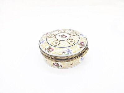 Eximious Castel French Limoges Gilt Floral Round Trinket Box,thinking Of You