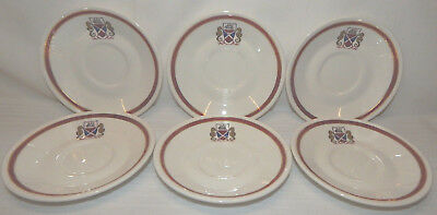 Set of 6 Vintage Syracuse Saucers, Seahorse and Ship Logo