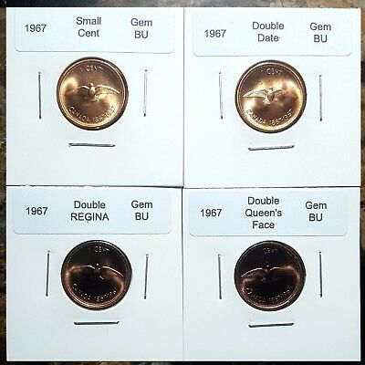 Canada 1967 Small Cents Gem BU, Double Date, Double Face & Double Legend!!