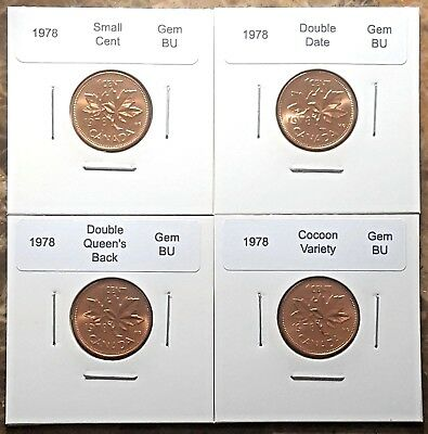 Canada 1978 Small Cent Gem BU Variety Set - Double Date, Double Back & Cocoon!!