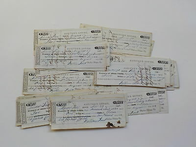 40 Antique Checks 1846 John Rosser Book-Binder Paper Money Lot Decatur Indiana