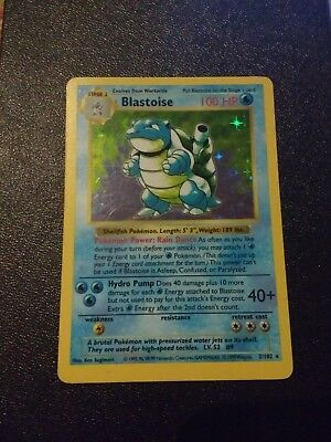 Pokemon Base Set Blastoise 2/102 Holo Rare Shadowless lightly Played